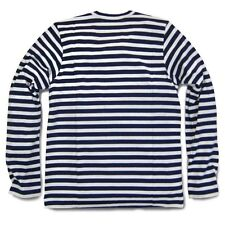 2014 HOT COMME DES GARCONS CDG PLAY STRIPED LONG SLEEVE NAVY BLUE RED HEART