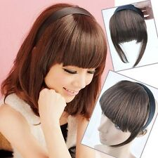 Fashion Women Girl's Headband Bang Neat Fringe Clip on/in Hair Extensions BP107