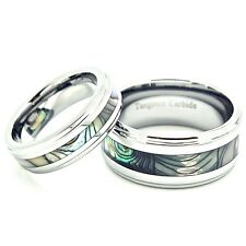 Matching 6mm & 10mm Tungsten Carbide with Inlaid Abalone Shell Wedding BandS Set