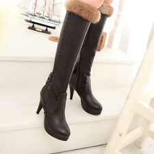 Womens Girls WINTER Work High Heels Faux Leather Knee High Rainboots Boots NEW
