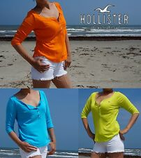 Hollister Women Summer Fashion Top Monarch Beach Henley Shirt by Abercrombie