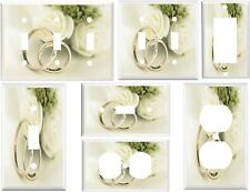 Light Switch Cover Plates - White Roses Wedding Rings