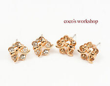 QUALITY FORGET ME NOT FLOWER ✿ GOLD BOW TIE CRYSTAL STUD EARRINGS JEWELLERY GIFT