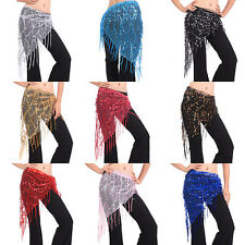 Women Mesh Triangle Hand Make Beads Sequin Tassles Belly Dance Wrap Hip Scarf