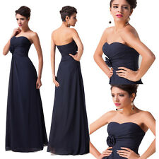Dark Navy Long Chiffon Evening Formal Bridesmaid Gown Prom Cocktail Dresses 6-20