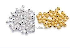 New 80/100Pcs Silver/Gold Plated Copper Stardust Ball Round Spacer Beads 3/4mm