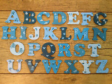 WOODEN PAINTED ALPHABET LETTERS boys/ blues. Individually hand painted.