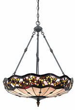 Bronze Tiffany Style Stained Glass Pendant Light Fixture Chandelier Hanging Lamp
