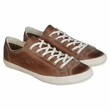 Lacoste Mens Fairburn M6 Gray  Leather Lace Up Sneakers Shoes