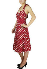 Plus Size Rockabilly Retro Red White Polka-Dot Halter Swing Dress 1X 2X 3X 4X