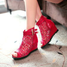 Womens Open Toe Lace Wedge Heel Ankle Boot Leather Candy Roma Shoes Plus Size4-9