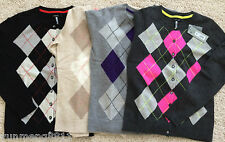 NWT Apt. 9 Women 100% Cashmere Sweater pink purple black argyle cardigan $125
