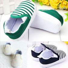Navy Stripe Infant Toddler Baby Girl Boy Soft Soles Crib Shoes Sneakers 0-18 M