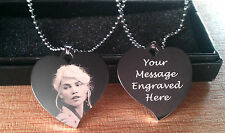 Personalised Photo/Text Heart Necklace Pendant Engraved Wedding Birthday Gifts