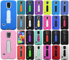 For Samsung Galaxy S5 IMPACT Hard Rubber Case Phone Cover Kickstand Accessory