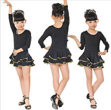 New Girls Black Long Sleeve Latin Salsa Dancewear Childrens Party Dancing DRess