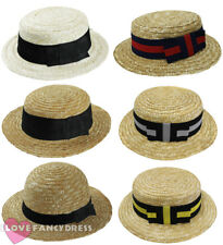 STRAW BOATER HAT 1920S ROWING BOAT BARBER SHOP FANCY DRESS COSTUME ACCESSORY LOT