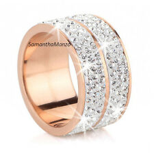6-Row Micro Pave Set SPARKLE Crystal ETERNITY ROSE Gold Stainless Steel Ring