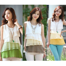 Fashion Women's Chiffon Shirt Lady Multi-layered Sleeveless Blouse Vest Pullover