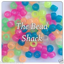 ♥ 100 GLOW IN THE DARK UV PLASTIC PONY BEADS 9x6mm BARREL MIXED/SINGLE COLOUR ♥