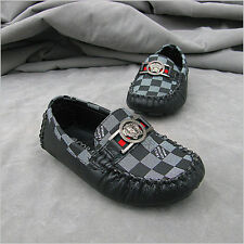 Boy's Girl's Grid Sneakers Child Slip On Flats Breathable Genuine Leather Shoes