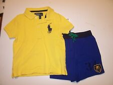 NEW Polo Ralph Lauren 2 pc short shirt set yellow navy blue big pony outfit