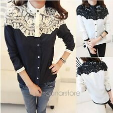 2014 New Women's Vintage Lace Long Sleeve Button Splicing T-shirt Blouse Tops