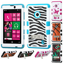 Nokia Lumia 521 Rubber IMPACT TUFF HYBRID KICK STAND Case Phone Cover Accessory