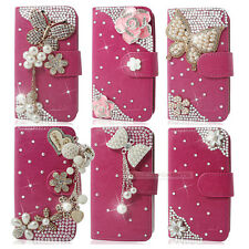 Rose Bling Diamond Flip Wallet Leather Case For iphone Samsung Sony LG HTC