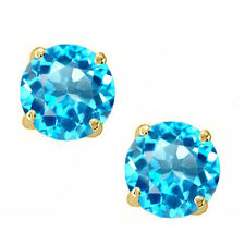 14K Solid Yellow Gold Blue Topaz Round Shape w/ Screw Back Stud Earrings