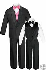 Boys Satin Shawl Lapel Suit Tuxedo EXTRA Coral Red Bow Tie Vest Set Outfits S-18