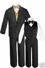 Boys Satin Shawl Lapel Suits Tuxedo EXTRA Gold Bow Tie Vest Sets Outfits Sz S-18