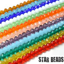 FACETED RONDELLE CRYSTAL GLASS BEADS PICK COLOUR & SIZE 4MM,6MM,8MM,10MM,12MM