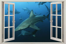 Fish shark Window 3d Instant Sea Window sea Wall Decal Porthole Graphic Sticker