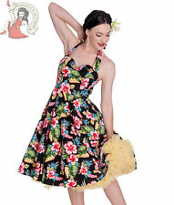HELL BUNNY 50's MAUI tropical HIBISCUS FLORAL rockabilly DRESS