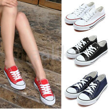 Classic Women Canvas Lace Up Thick Sole Athletic Sneaker Casual Plimsoll Shoes