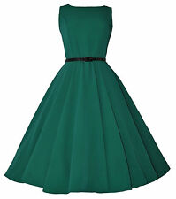 CLASSIC 50's VINTAGE AUDREY GREEN ULTRA FLARED SWING JIVE ROCKABILLY DRESS  8-20