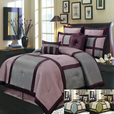 Morgan Purple Polyester Bedding Set-Comforter, Skirt, Shams & Decorative Pillows