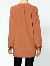 SIZE XS VINCE OVERSIZED SILK SHIRT IN GINGERSNAP NWT