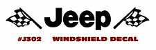 QJ-J302 AMC JEEP - 'JEEP with FLAGS' - WINDSHIELD DECAL