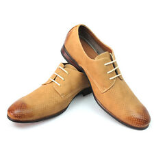 New Men's Light Brown Ferro Aldo Shoes Almond Toe Block Heel Modern Lace Up NEW