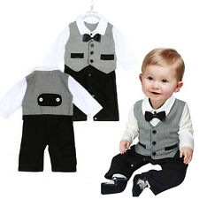 Boys Vest Wedding Party Formal Check Tuxedo Suit Bow Romper Outfit Sets 1-12 Mth