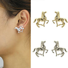"Fashion Gold/Silver Tone 0.8""X1""Horse Stud Earrings ASR Cute Gift for Girls Lady"