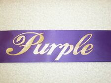 "70"" PURPLE SASHES W/GOLD LETTERS - MANY TITLES-PAGEANT, PROM, HOMECOMING"