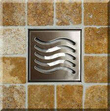 Royal Square Shower Drain Stainless Steel by Serene Steam  - Ocean Wave Design