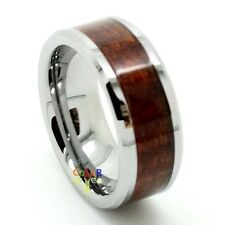 8mm Men's Tungsten Carbide Wood Inlay Beveled Edge Wedding Band Ring Size 8-14