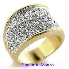 Two-Tone Sparkle Crystal Micro Pave Set Cz Bling Wedding Mens Ladies Ring Band