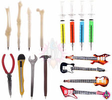 NEW VINTAGE NOVELTY SET OF 4 PENS IN VARIOUS DESIGNS BONES SYRINGES GUITAR