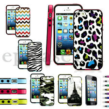 Hybrid 2 in1 Combo TPU Hard Soft Phone Case Cover Skin for Apple iphone 5 5s