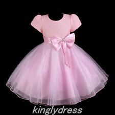 NEW Flower Girl Pageant Wedding Bridesmaid Party Princess Dress Pink SZ 4-8 Z134
